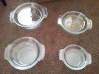 Four Pyrex Casseroles with lids
