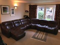6 Piece Brown leather corner suite