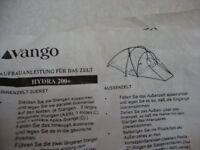 VANGO HYDRA 200 PLUS TENT & POLES IN BAG
