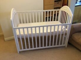 White Mothercare Playbead Cot, Mattress, Sheets And Bumpers