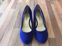 Blue velvety shoes