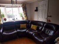 DFS leather corner aubergine sofa for sale