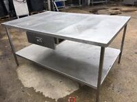 Large Stainless Steel Table with Handy Drawer for Utensils