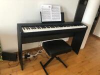 Yamaha P45 digital piano, piano stand, foot paddle, and adjustable stool set - light and portable