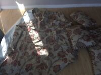 Dunelm fully lined curtains with 3 matching cushions