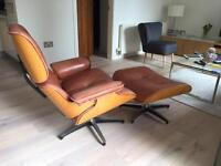 Charles Eames style lounge chair and footstool