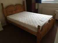 SOLID WOOD FOUR POSTER BED WITH LAURA ASHLEY MATTRESS