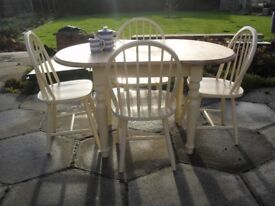 Shabby Chic Farmhouse Solid Pine Small Oval Extending Table And Chairs In Farrow Ball Cream