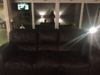 Brown leather 2 and 3 bed sofa FREE