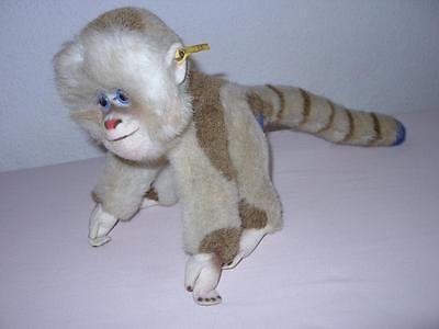 Steiff alter Affe Pavian Mungo ca 46 cm Knopf Fahne 0025/23