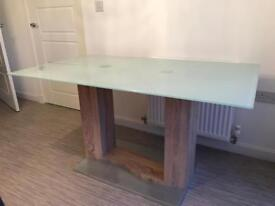 Glass Top wood effect bottom dining kitchen table
