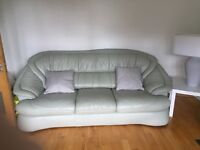 Leather Sofa (3+1+1) Sage Green excellent condition