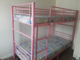 Pink bunk bed with mattress if wanted