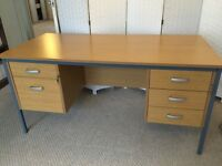 Desk, oak finish, 5 drawers, good condition