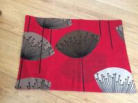 Sanderson Dandelion Clocks, red, material place mats, excellent condition