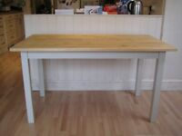 Lovely Solid Wood Kitchen / Dining Table, 135 cm - Frame and legs painted in Farrow & Ball eggshell