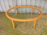 A Quality Made in Italy Wood & Glass Large Oval Coffee Table