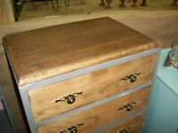 VINTAGE OAK CHEST OF DRAWERS PAINTED SLATE GREY ANNIE SLOAN CHALK PAINT VGC