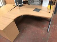 1600mm Curved Desk & Side Pedestal (Beech)