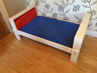 WHITE IKEA CHILDREN'S EXTENDING BED WITH MATTRESS AND SHEETS