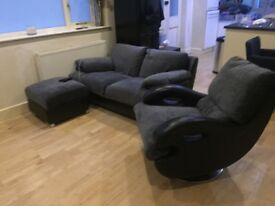 Grey and black sofas