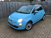 2012 FIAT 500 1.2 LOUNGE BLUE (80,000 Miles) New Cambelt & MOT! Glass roof! Air conditoning!