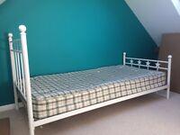Single Bed - White Metal Frame Inc Mattress