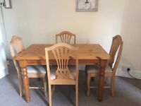 Pine Dining Table - 130cm by 80cm - already dismantled for collection