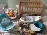 *Baby bundle* cot bed/ side cot, rocker, bouncer, bath, bumbo, toys