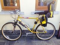 Adult mountain bike with rear child's seat