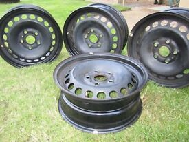 Four Volkswagen steel wheels 195 / 65 R15 genuine VW part, excellent condition 4 sale at 1/3 RRP
