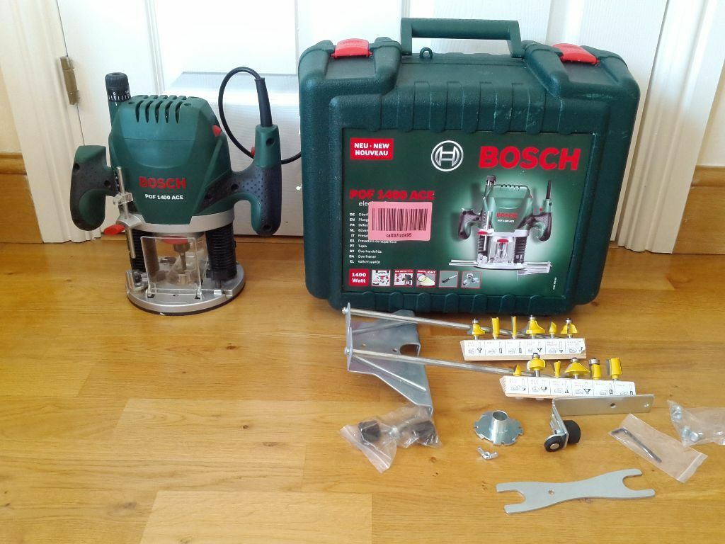 Bosch pof 1400 ace plunge router 1400w with box accessories 12 bosch pof 1400 ace plunge router 1400w with box accessories 12 extra bits keyboard keysfo