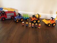 ELC Big Happyland lights and sound toys - Tractor, Fire truck, Digger, Cement mixer & figures £40