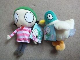 ( New with tags ) Sarah and Duck Cbeebies Twin Pack Plush with Sound