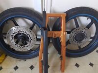 2004 Honda CBR 125 front and rear wheel with swingarm, As all the bits connected.