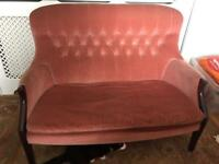 Quality 2 seater sofa made from mahogany and velvet