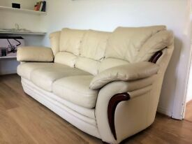 Three piece leather sofa suite in Beige
