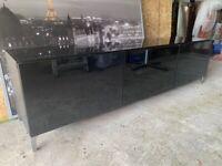 Tv Unit - black, gloss, handless, 3 door unit