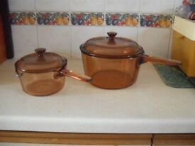 2 Amber Glass Saucpans