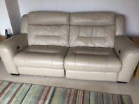 Reclining sofas 3 seater & 2 seater in dark beige.