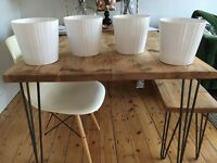 4 new, white IKEA plant pots, 17cm diameter