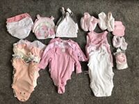 Variety bundle of baby girls clothes aged from birth to 6 months