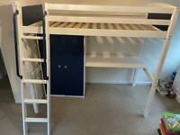 Children's high sleeper cabin bed with wardrobe and desk
