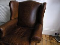 Leather Winged Armchair