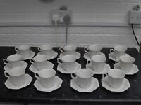 14 Johnson Brothers Heritage White Cup and Saucers