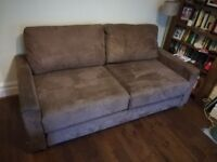 Two wide seat sofabed - Nabru self assembly, brown mock suede