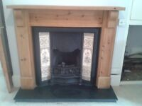 Victorian/Edwardian Vintage style Cast Iron Fireplace with tiled inserts.