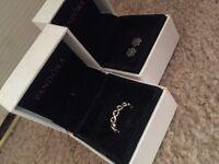 Infinity pandora ring and pandora flower earrings