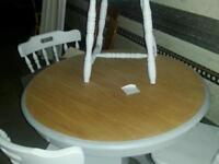 Lovely pine n oak top table 4 chairs cottage style