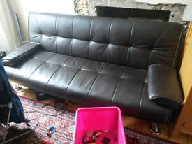 Sofa Bed - Brown, leather effect